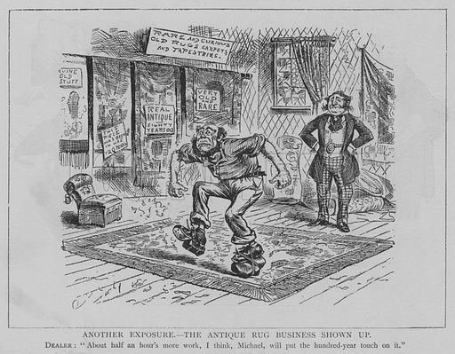 Another Exposure, the Antique Rug Business Shown Up. Illustration for The Picture Magazine, 1895.