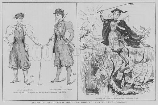 """Award of Five Guineas for """"New Woman"""" Drawing Prize. Illustration for The Picture Magazine, 1895."""