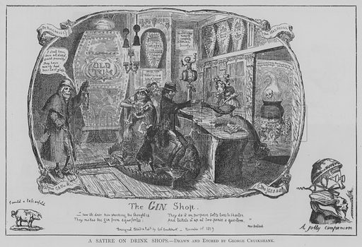 A Satire on Drink Shops. Illustration for The Picture Magazine, 1895.