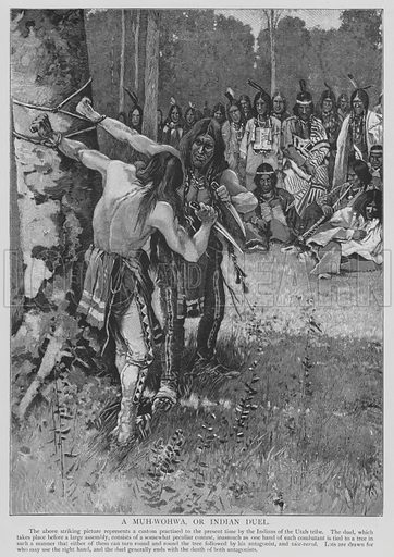 A Muh-Wohwa, or Indian Duel. Illustration for The Picture Magazine, 1895.