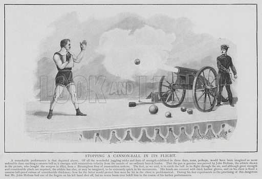Stopping a Cannon-Ball in its Flight. Illustration for The Picture Magazine, 1895.