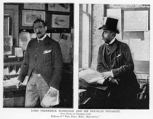 Lord Frederick Hamilton and Sir Douglas Straight. Illustration for The Picture Magazine, 1895.