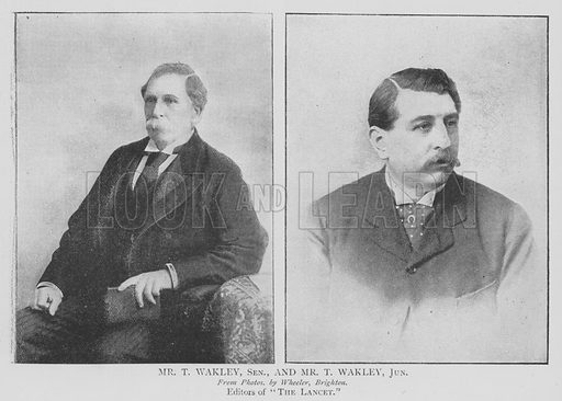 Mr T Wakley, Senior, and Mr T Wakley, Junior. Illustration for The Picture Magazine, 1895.