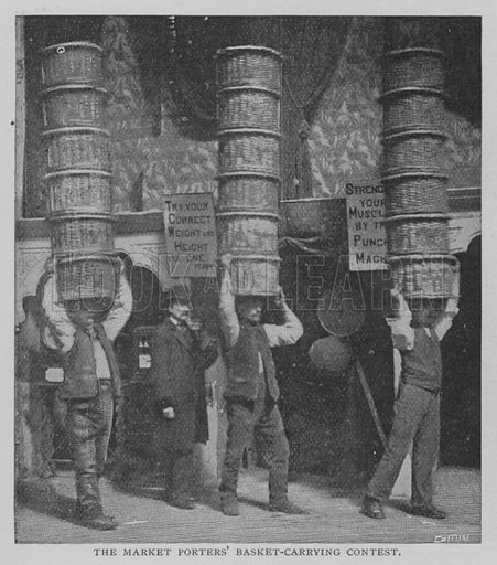 The Market Porters' Basket-Carrying Contest. Illustration for The Strand Magazine, 1897.