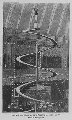 "Madame Alphonsine, the ""Spiral Ascensionist"". Illustration for The Strand Magazine, 1897."