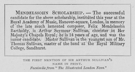 The First Mention of Sir Arthur Sullivan's Name in Print. Illustration for The Strand Magazine, 1897.