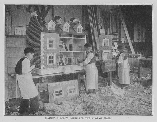 Making a Doll's House for the King of Siam. Illustration for The Strand Magazine, 1897.
