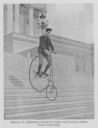William T Robertson Wheeling Down the Capitol Steps. Illustration for The Strand Magazine, 1897.