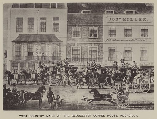 West Country Mails at the Gloucester Coffee House, Piccadilly. Illustration for Mayfair and Belgravia by George Clinch (Truslove and Shirley, 1892).