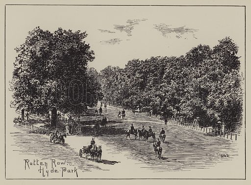 Rotten Row, Hyde Park. Illustration for Mayfair and Belgravia by George Clinch (Truslove and Shirley, 1892). Signed A Bernard Sykes.