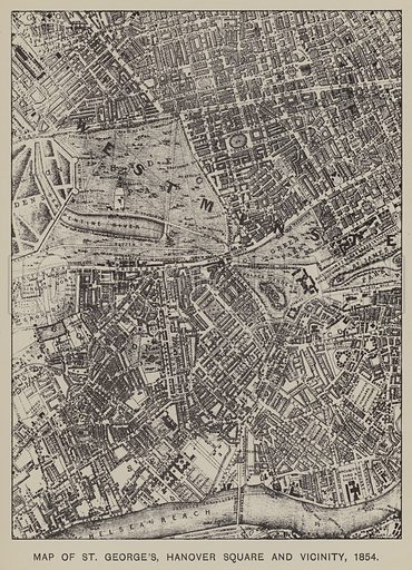 Map of St George's, Hanover Square and Vicinity, 1854. Illustration for Mayfair and Belgravia by George Clinch (Truslove and Shirley, 1892).