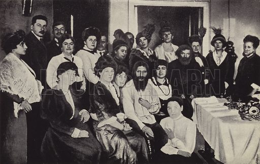 Rasputin Surrounded by Ladies of the Russian Court. Illustration for Rasputin The Holy Devil by Rene Fulop-Miller (Putnam's, 1928).