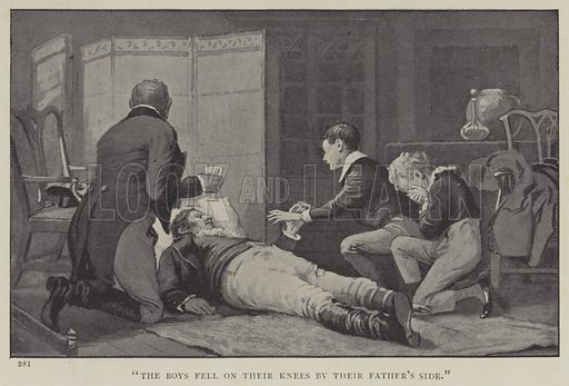 The Boys Fell on their Knees by their Father's Side. Illustration for Through the Fray, A Tale of the Luddite Riots by GA Henty (Blackie, 1903).