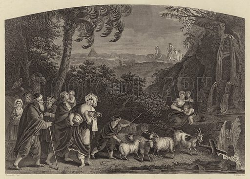 So Abram departed, and Lot went with him. Bible illustration from unidentified book.