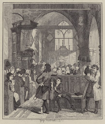 Jack Sheppard committing the robbery in Willesden Church. Illustration for Jack Sheppard by W Harrison Ainsworth (George Routledge, c 1880).