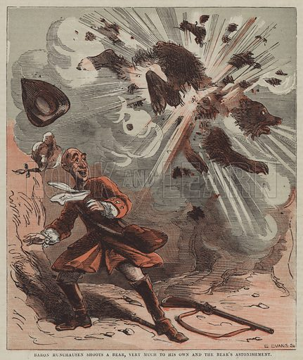 Baron Munchausen shoots a bear, very much to his own and the bear's astonishment. Illustration for Marvellous Adventures illustrated by Phiz (George Vickers, 1862).