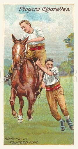 Bringing in wounded man. Illustration for one of a series of cigarette cards on Army Life, published by John Player, early 20th century.