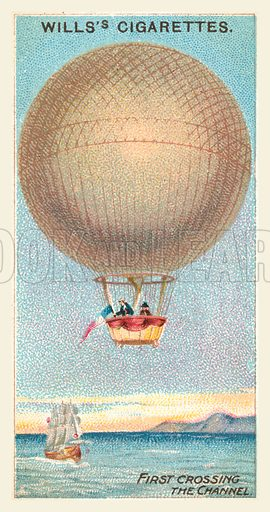 First Crossing the Channel. Illustration for one of a series of cigarette cards on the subject of Aviation, published by Wills, early 20th century.