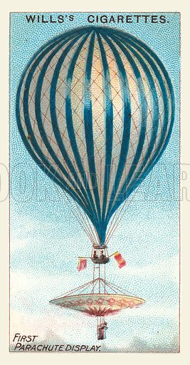 First Parachute Display. Illustration for one of a series of cigarette cards on the subject of Aviation, published by Wills, early 20th century.