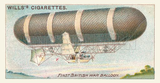 First British War Balloon. Illustration for one of a series of cigarette cards on the subject of Aviation, published by Wills, early 20th century.
