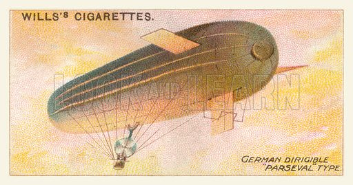 German Dirigible Parseval Type. Illustration for one of a series of cigarette cards on the subject of Aviation, published by Wills, early 20th century.