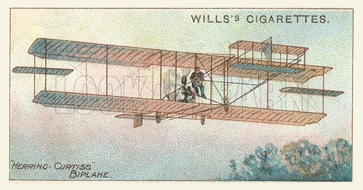 Herring-Curtiss Biplane. Illustration for one of a series of cigarette cards on the subject of Aviation, published by Wills, early 20th century.