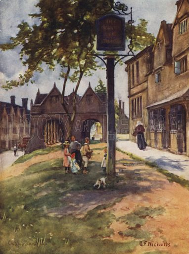 Market Hall, Chipping Campden. Illustration for The Cotswolds described by Francis Duckworth (A & C Black, 1908).
