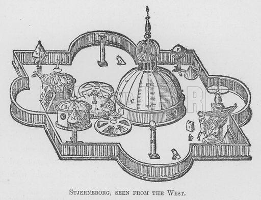 Stjerneborg, seen from the West. Illustration for Tycho Brahe by JLE Dreyer (A & C Black, 1890).