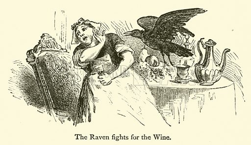 The Raven fights for the Wine. Illustration for The Intelligence of Animals from the French of Ernest Menault (Charles Scribner, 1872).