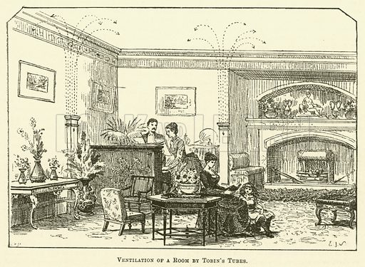 Ventilation of a Room by Tobin's Tubes. Illustration for Cassell's Book of the Household (Cassell, 1889).