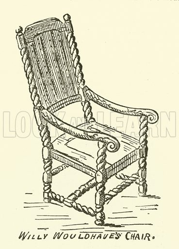 Willy Wouldhave's Chair. Illustration for The Monthly Chronicle of North-Country Lore and Legend, 1887.
