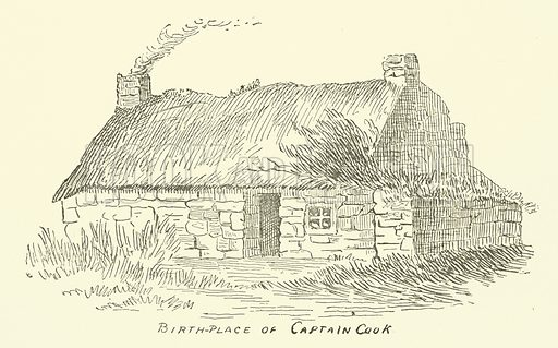 Birth-Place of Captain Cook. Illustration for The Monthly Chronicle of North-Country Lore and Legend, 1887.