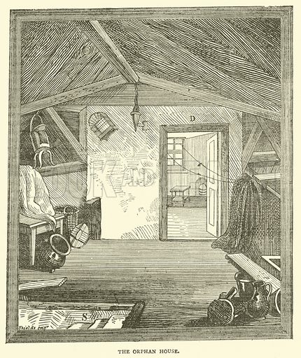 The Orphan House. Illustration for The Monthly Chronicle of North-Country Lore and Legend, 1888.