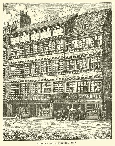 Surtees's House, Sandhill, 1887. Illustration for The Monthly Chronicle of North-Country Lore and Legend, 1888.