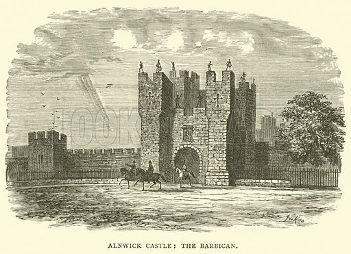 Alnwick Castle, the Barbican. Illustration for The Monthly Chronicle of North-Country Lore and Legend, 1890.