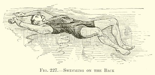 Swimming on the Back. Illustration for Country Pastimes for Boys (Longmans, Green, 1908).