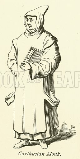 Carthusian Monk. Illustration for Scenes and Characters of the Middle Ages by Edward L Cutts (Virtue, 1872).