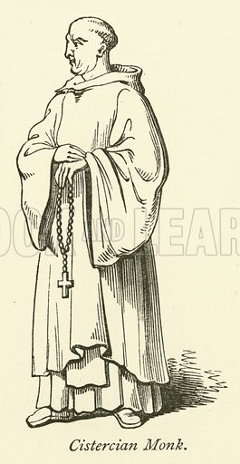 Cistercian Monk. Illustration for Scenes and Characters of the Middle Ages by Edward L Cutts (Virtue, 1872).