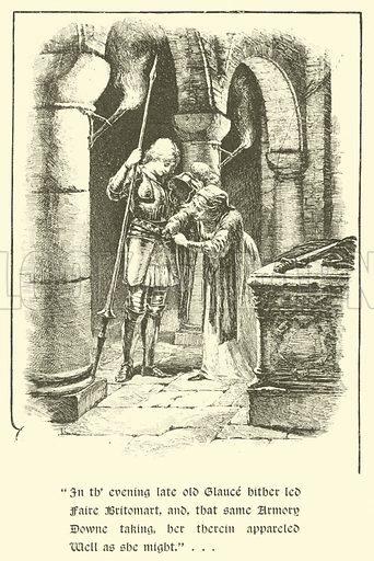 The Legend Of Britomart, How Britomart Set Forth On Her Quest. Illustration for Strories from the Faerie Queene by Mary Macleod (Gardner, Darton, c 1890).
