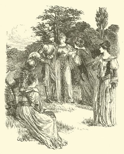 The Legend Of Britomart, The Golden Girdle Awarded. Illustration for Strories from the Faerie Queene by Mary Macleod (Gardner, Darton, c 1890).