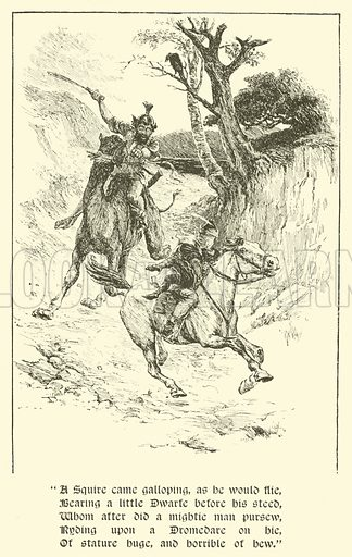 The Squire Of Low Degree, The Giant With Flaming Eyes. Illustration for Strories from the Faerie Queene by Mary Macleod (Gardner, Darton, c 1890).
