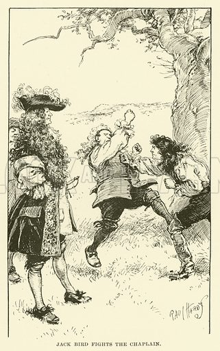 Jack Bird Fights the Chaplain. Illustration for Half-Hours with the Highwaymen by Charles Harper (Chapman and Hall, 1908).