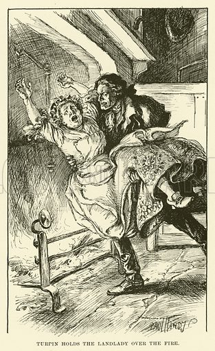 Turpin Holds the Landlady over the Fire. Illustration for Half-Hours with the Highwaymen by Charles Harper (Chapman and Hall, 1908).