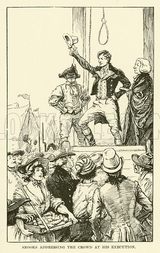 Snooks Addressing the Crowd at his Execution. Illustration for Half-Hours with the Highwaymen by Charles Harper (Chapman and Hall, 1908).