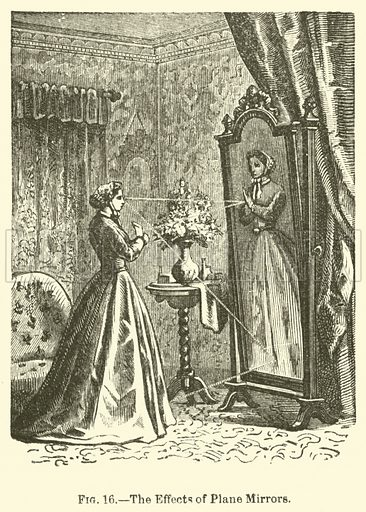 The Effects of Plane Mirrors. Illustration for The Wonders of Optics by F Marion (Charles Scribner, 1872).