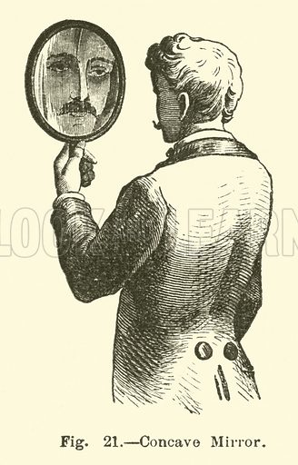 Concave Mirror. Illustration for The Wonders of Optics by F Marion (Charles Scribner, 1872).