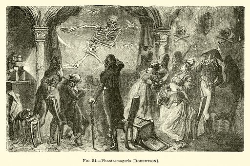 Phantasmagoria, Robertson. Illustration for The Wonders of Optics by F Marion (Charles Scribner, 1872).