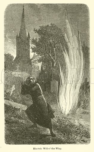 Electric Will-o'-the Wisp. Illustration for Thunder and Lightning by W De Fonvielle (Charles Scribner, 1871).