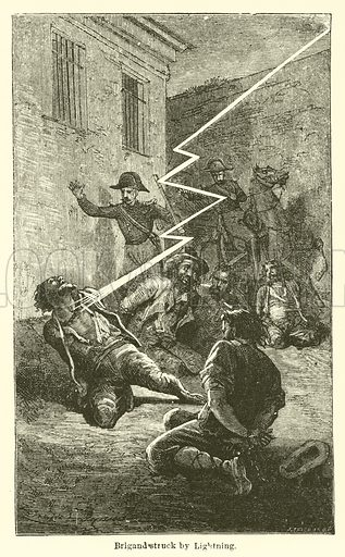 Brigand struck by Lightning. Illustration for Thunder and Lightning by W De Fonvielle (Charles Scribner, 1871).
