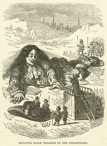Gulliver taken prisoner by the Lilliputians. Illustration for Marvellous Adventures illustrated by Phiz (George Vickers, 1862).